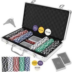Pokers - 300 žetonu komplekts čemodānā