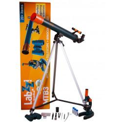 Mikroskops & Teleskops & Binoklis  Bērniem ar Eksperimentālo Komplektu Levenhuk LabZZ MTB3 Plus Kit