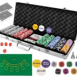Pokers - 500 žetonu komplekts čemodānā