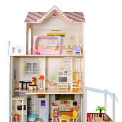 Koka leļļu māja ar mēbelēm 9152