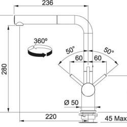 Franke Active-Plus Izvelkams uzgalis 550mm (11 krāsas)
